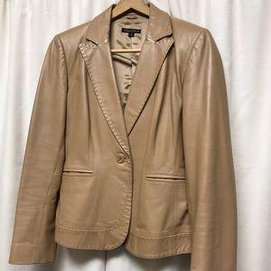 Tahari tan leather blazer